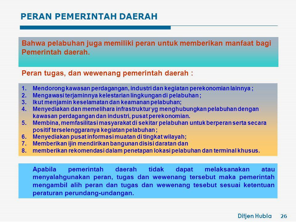 Ditjen Hubla 26 Bahwa pelabuhan juga memiliki peran untuk memberikan manfaat bagi Pemerintah daerah. 1.Mendorong kawasan perdagangan, industri dan keg
