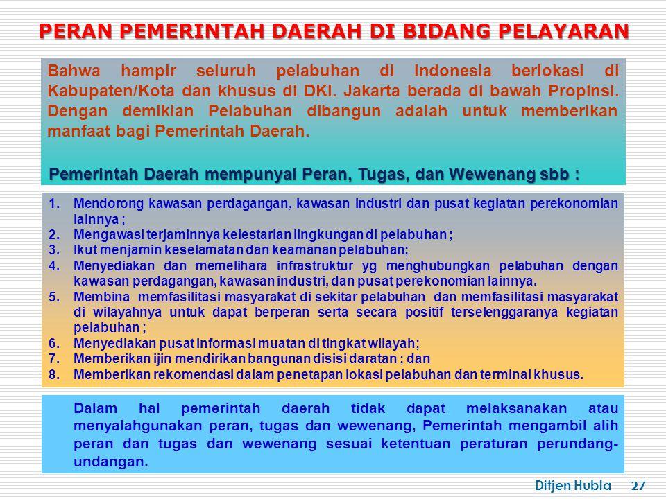Ditjen Hubla 27 Bahwa hampir seluruh pelabuhan di Indonesia berlokasi di Kabupaten/Kota dan khusus di DKI. Jakarta berada di bawah Propinsi. Dengan de