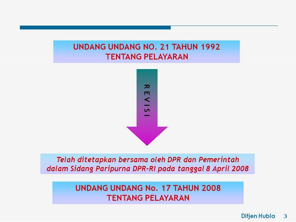Ditjen Hubla 3 UNDANG UNDANG NO. 21 TAHUN 1992 TENTANG PELAYARAN UNDANG UNDANG No. 17 TAHUN 2008 TENTANG PELAYARAN Telah ditetapkan bersama oleh DPR d