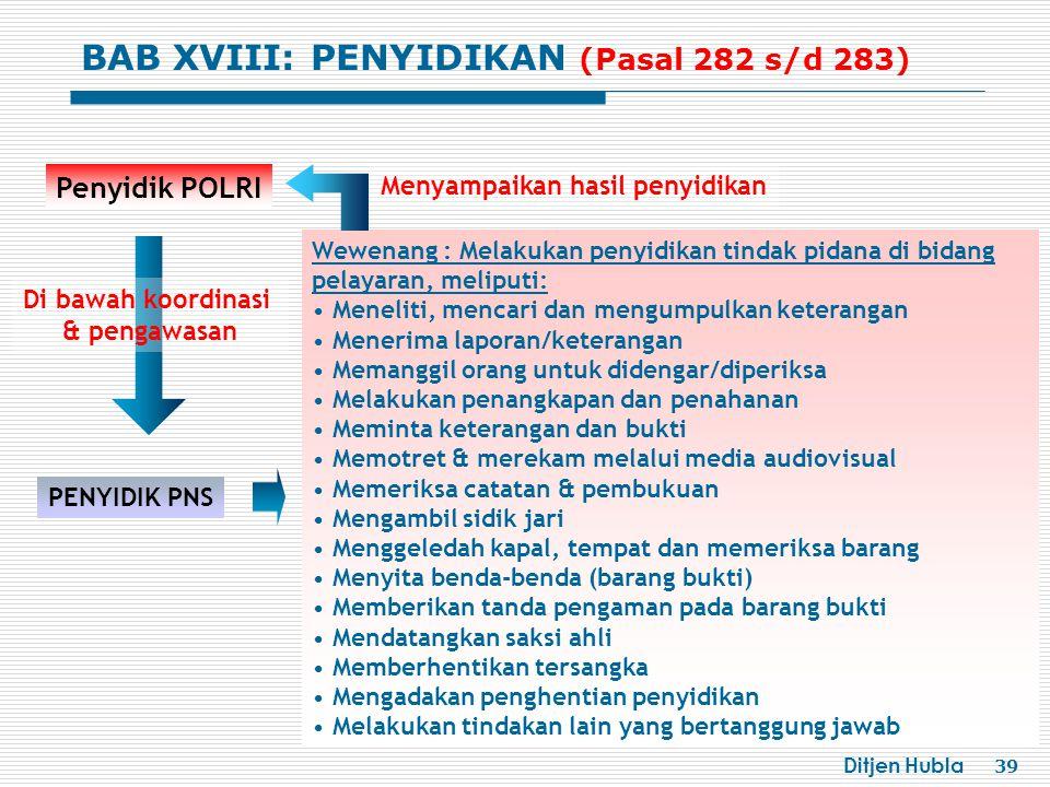 Ditjen Hubla 39 PENYIDIK PNS Penyidik POLRI Wewenang : Melakukan penyidikan tindak pidana di bidang pelayaran, meliputi: Meneliti, mencari dan mengump