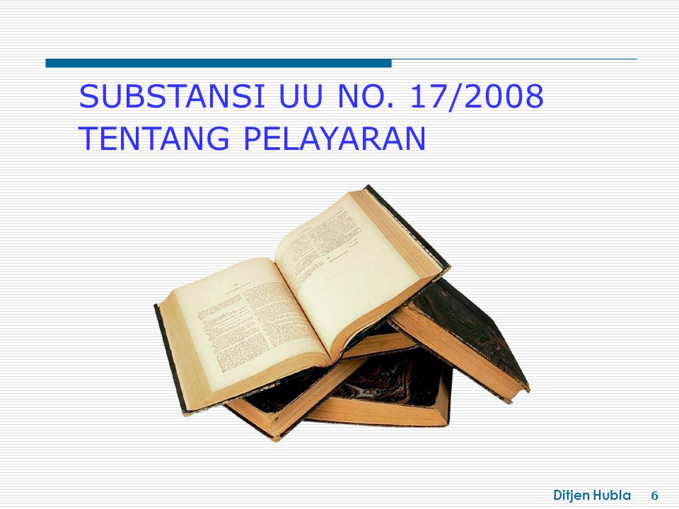 Ditjen Hubla 7 Sedangkan sanksi administratif dalam UU ini juga merupakan materi baru yang diletakkan pada akhir bab atau akhir substansi pada bab masing-masing BAB I : KETENTUAN UMUM BAB II : ASAS DAN TUJUAN BAB III : RUANG LINGKUP BERLAKUNYA UNDANG-UNDANG BAB IV : PEMBINAAN BAB V : ANGKUTAN DI PERAIRAN BAB VI:HIPOTEK DAN PIUTANG PELAYARAN YANG DIDAHULUKAN BAB VIII:KESELAMATAN DAN KEAMANAN PELAYARAN BAB VII : KEPELABUHANAN BAB XIX : KETENTUAN PIDANA BAB XX : KETENTUAN LAIN-LAIN BAB XXI : KETENTUAN PERALIHAN BAB XXII: KETENTUAN PENUTUP BAB XVI:PERAN SERTA MASYARAKAT BAB XIII : KECELAKAAN KAPAL SERTA PENCARIAN DAN PERTOLONGAN BAB XIV : SUMBER DAYA MANUSIA BAB XV:SISTEM INFORMASI PELAYARAN BAB XVII:PENJAGAAN LAUT DAN PANTAI (SEA AND COAST GUARD) BAB XVIII: PENYIDIKAN BAB IX:KELAIKLAUTAN KAPAL BAB XII:PERLINDUNGAN LINGKUNGAN MARITIM BAB X : KENAVIGASIAN BAB XI:SYAHBANDAR BAB BARU BATANG TUBUH UU NO.