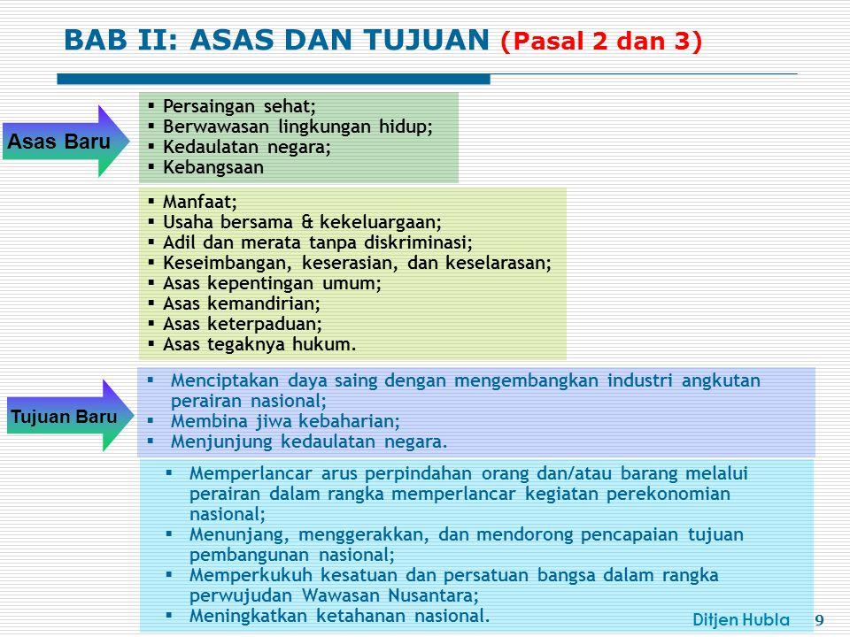 Ditjen Hubla 10 Semua kegiatan angkutan di perairan, kepelabuhanan, keselamatan dan keamanan pelayaran serta perlindungan lingkungan maritim di perairan Indonesia.
