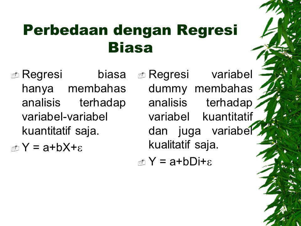 Perbedaan dengan Regresi Biasa  Regresi biasa hanya membahas analisis terhadap variabel-variabel kuantitatif saja.  Y = a+bX+   Regresi variabel d