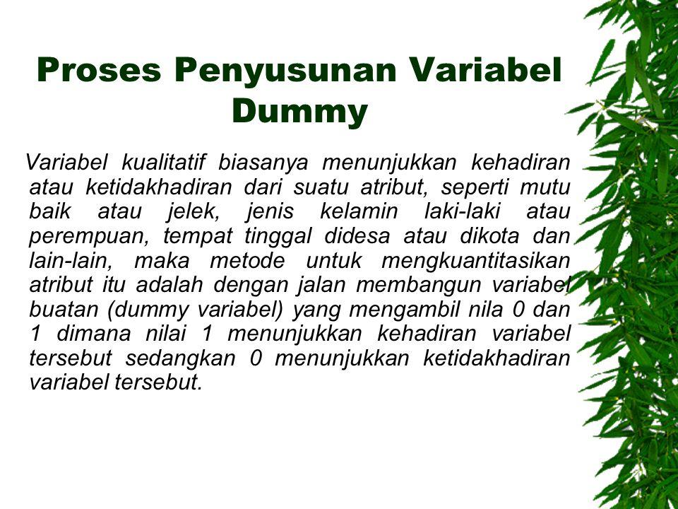 Proses Penyusunan Variabel Dummy Variabel kualitatif biasanya menunjukkan kehadiran atau ketidakhadiran dari suatu atribut, seperti mutu baik atau jelek, jenis kelamin laki-laki atau perempuan, tempat tinggal didesa atau dikota dan lain-lain, maka metode untuk mengkuantitasikan atribut itu adalah dengan jalan membangun variabel buatan (dummy variabel) yang mengambil nila 0 dan 1 dimana nilai 1 menunjukkan kehadiran variabel tersebut sedangkan 0 menunjukkan ketidakhadiran variabel tersebut.