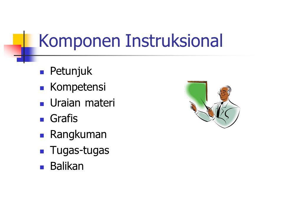 Komponen Instruksional Petunjuk Kompetensi Uraian materi Grafis Rangkuman Tugas-tugas Balikan