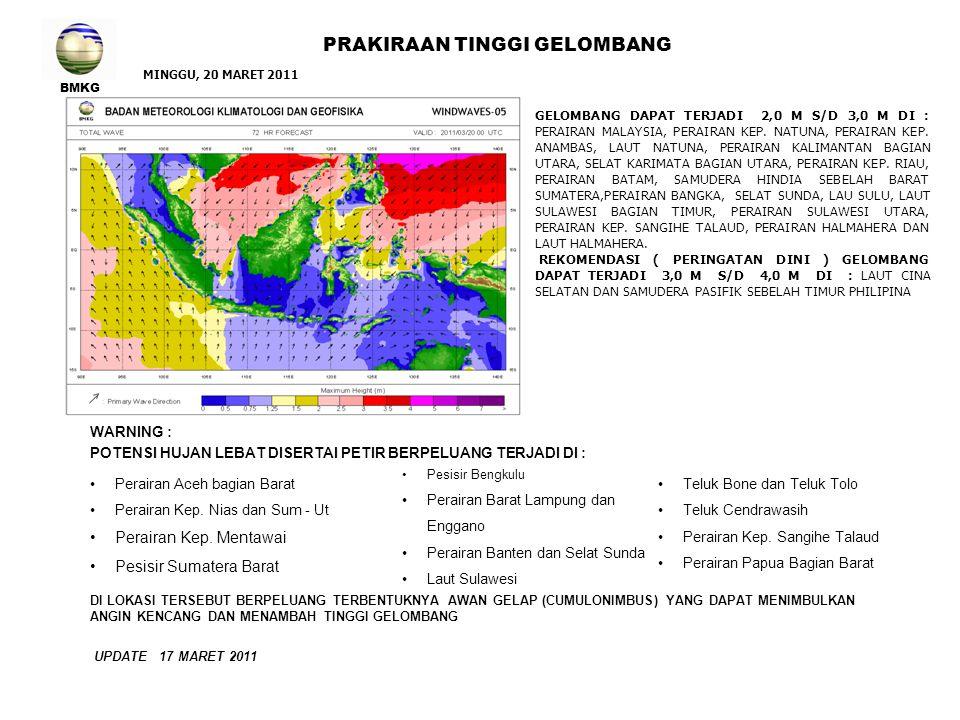 BMKG PRAKIRAAN TINGGI GELOMBANG UPDATE 17 MARET 2011 GELOMBANG DAPAT TERJADI 2,0 M S/D 3,0 M DI : LAUT CINA SELATAN, PERAIRAN VIETNAM, PERAIRAN MALAYSIA, PERAIRAN KEP.