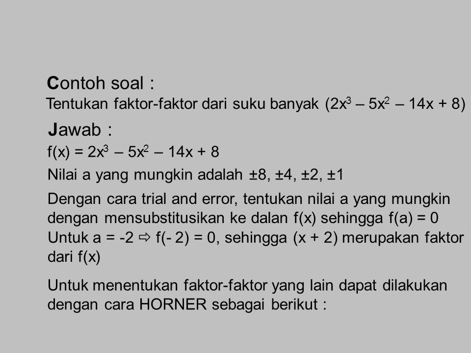 Menyelesaikan Persamaan Suku Banyak Menentukan Faktor Linear dari Suku Banyak Jika f(x) = a 0 x n + a 1 x n-1 + … + a n-1 x + a n dan (x – a) merupaka