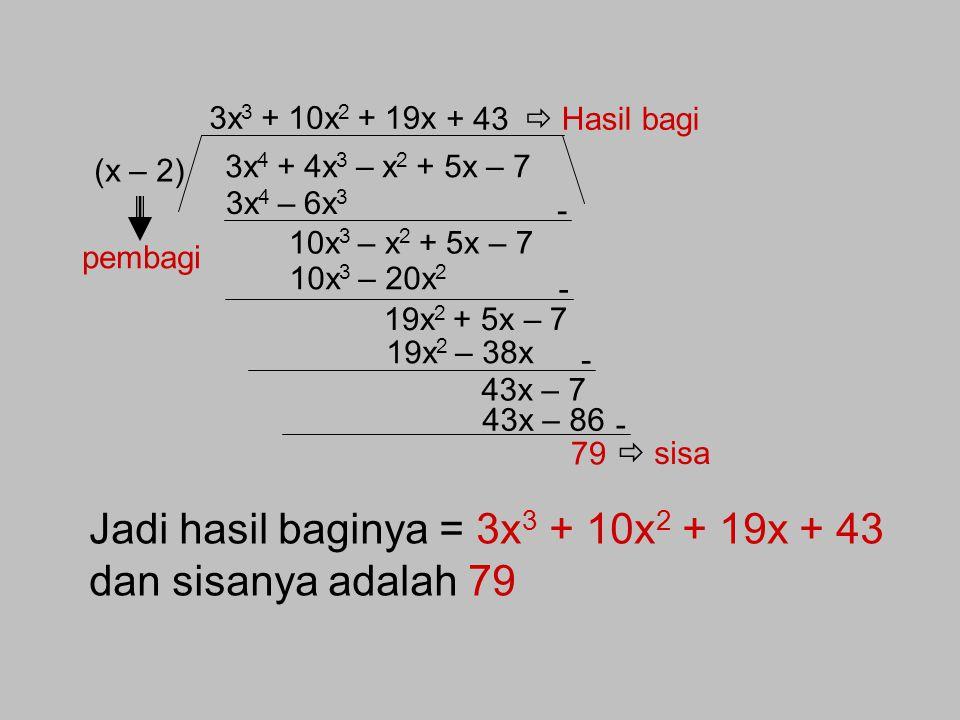 Pembagian Suku Banyak Hitunglah 1.256 dibagi 3 dengan cara bersusun ! Algoritma Pembagian Suku Banyak oleh (x – k) 1. Cara bersusun Contoh soal : Tent