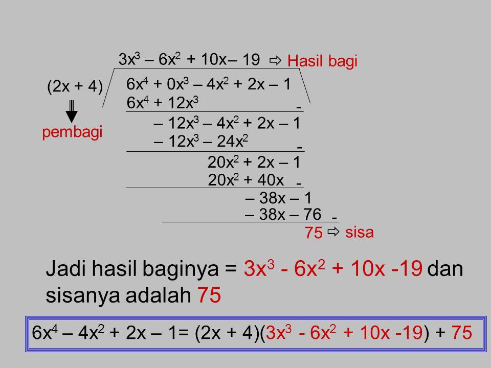 Pembagian Suku Banyak Algoritma Pembagian Suku Banyak oleh (ax+b) 1. Cara bersusun Contoh soal : Tentukan pembagian suku banyak f(x) = 6x 4 – 4x 2 + 2
