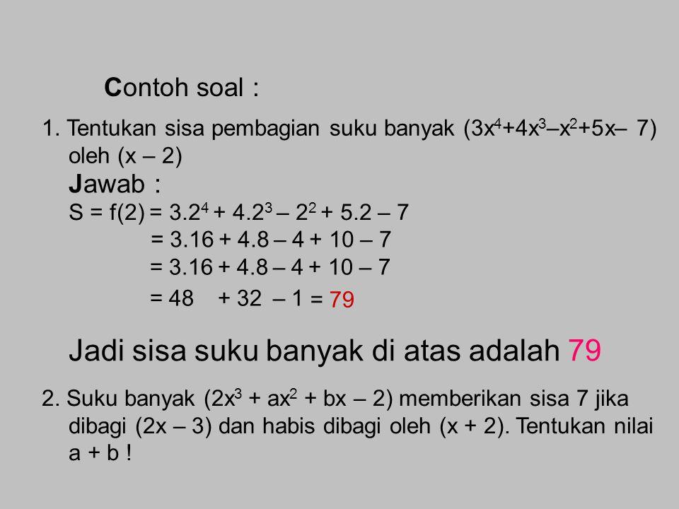 Teorema Sisa untuk Pembagian Bentuk Linear Teorema Sisa : TEOREMA SISA dan TEOREMA FAKTOR 1.Jika suatu suku banyak f(x) dibagi oleh pembagi linear ber
