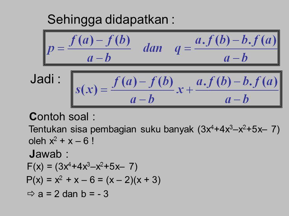 Teorema Sisa untuk Pembagian Bentuk Kuadrat yang dapat difaktorkan (x – a)(x – b) Algoritma Pembagian Suku Banyak oleh (x – a)(x – b) Jika fungsi suku