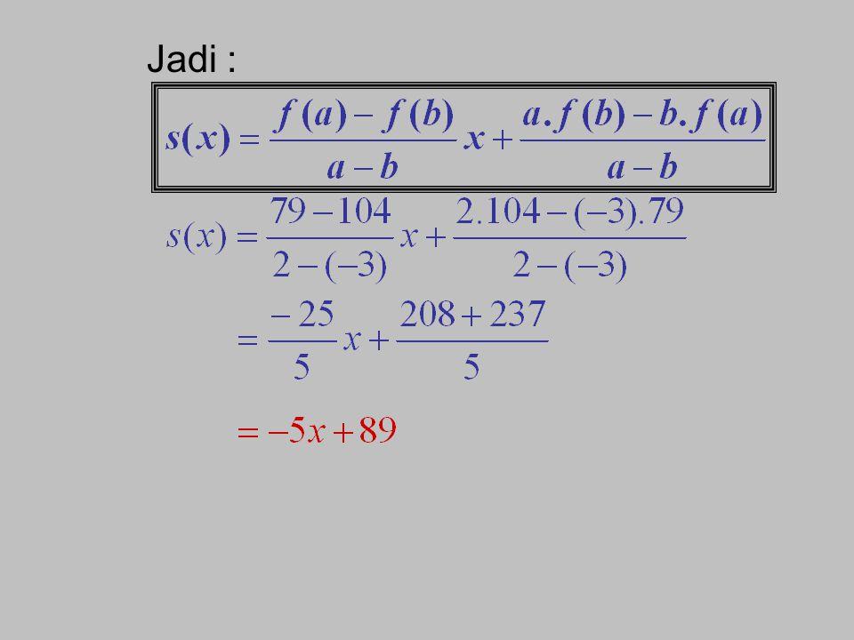 Sehingga didapatkan : Jadi : Contoh soal : Tentukan sisa pembagian suku banyak (3x 4 +4x 3 –x 2 +5x– 7) oleh x 2 + x – 6 ! Jawab : P(x) = x 2 + x – 6