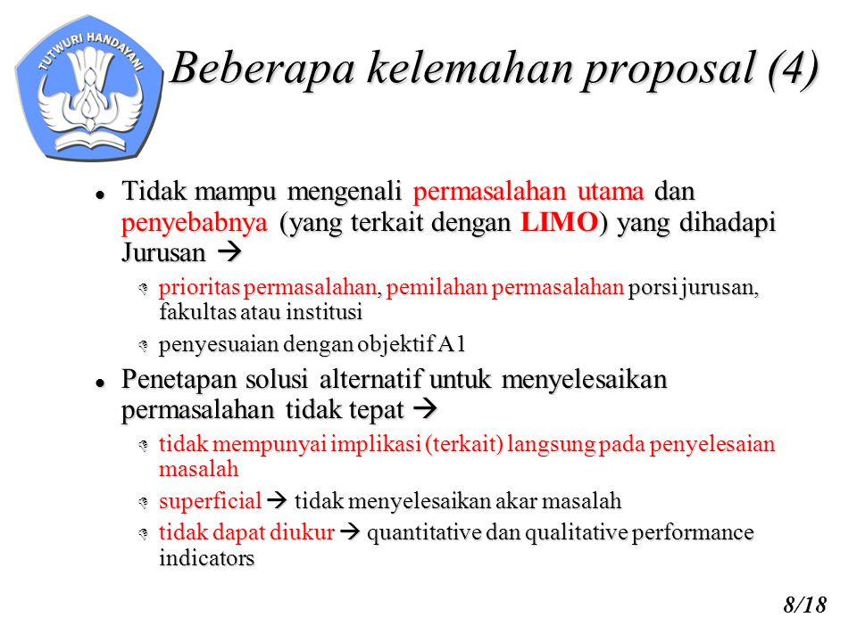 9/18 Beberapa kelemahan proposal (5)  Permasalahan utama tidak terkait dengan judul dan usulan program   pemilihan dan pemilahan permasalahan yang sesuai dengan obyektif PHK A1  prioritas permasalahan  sesuai dengan dana dan waktu