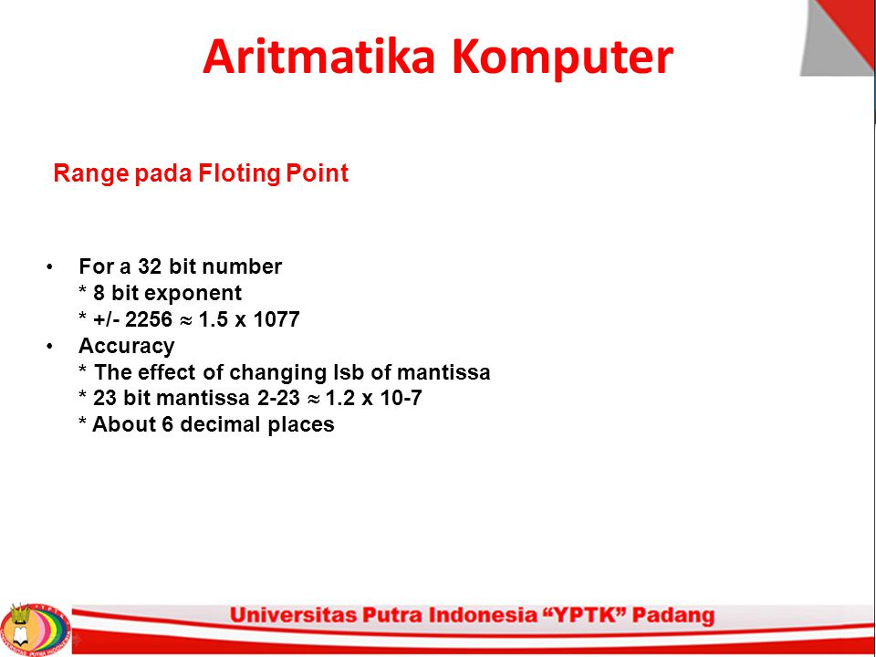 Aritmatika Komputer For a 32 bit number * 8 bit exponent * +/- 2256  1.5 x 1077 Accuracy * The effect of changing lsb of mantissa * 23 bit mantissa 2