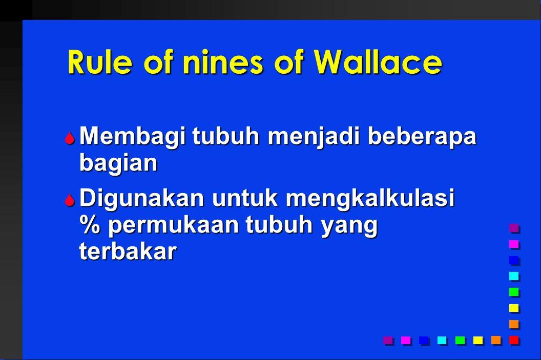 Rule of nines of Wallace  Membagi tubuh menjadi beberapa bagian  Digunakan untuk mengkalkulasi % permukaan tubuh yang terbakar