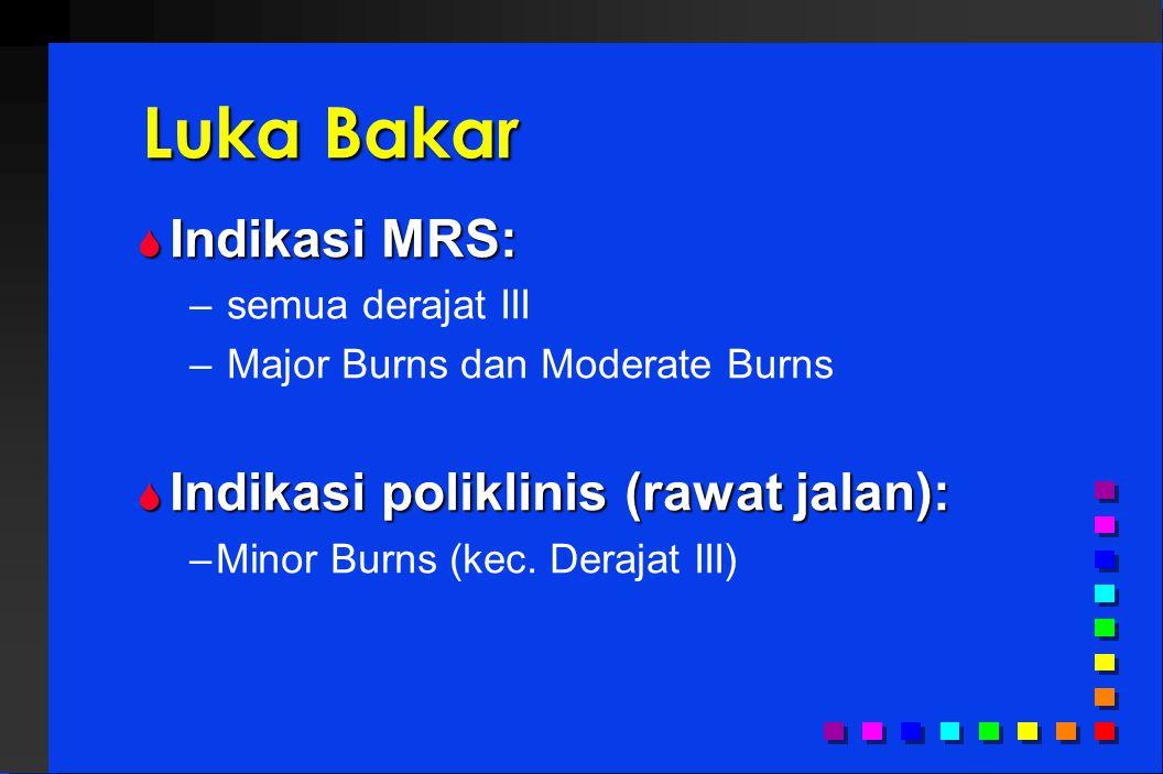 Luka Bakar  Indikasi MRS: – semua derajat III – Major Burns dan Moderate Burns  Indikasi poliklinis (rawat jalan): –Minor Burns (kec.