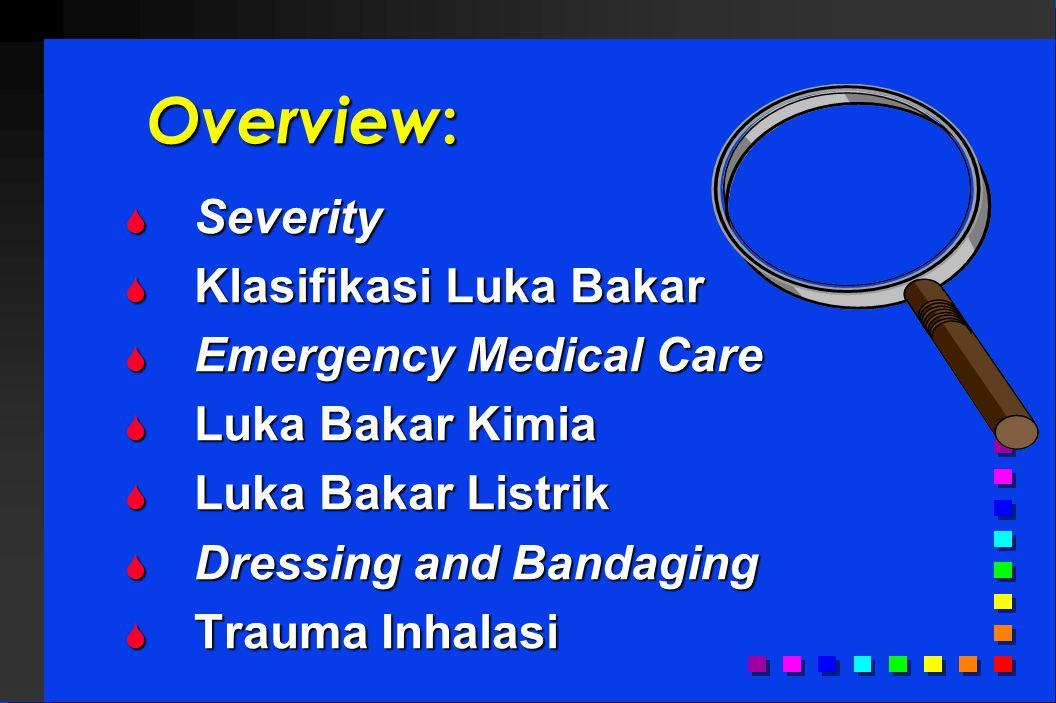 Severity Luka Bakar Ditentukan oleh: - derajat kedalaman - derajat kedalaman - luas - luas - critical areas yang terkena - critical areas yang terkena - medical condition atau trauma - medical condition atau trauma - umur pasien - umur pasien