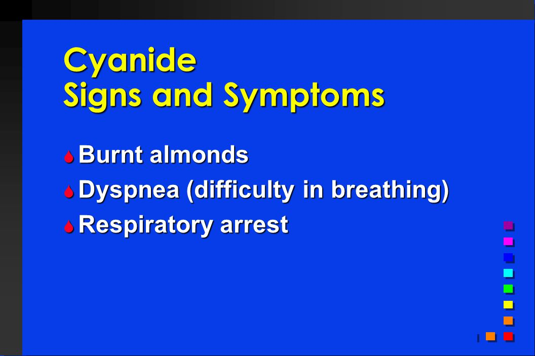 Cyanide Signs and Symptoms  Burnt almonds  Dyspnea (difficulty in breathing)  Respiratory arrest