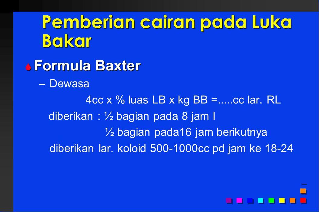Pemberian cairan pada Luka Bakar  Formula Baxter – Dewasa 4cc x % luas LB x kg BB =.....cc lar.