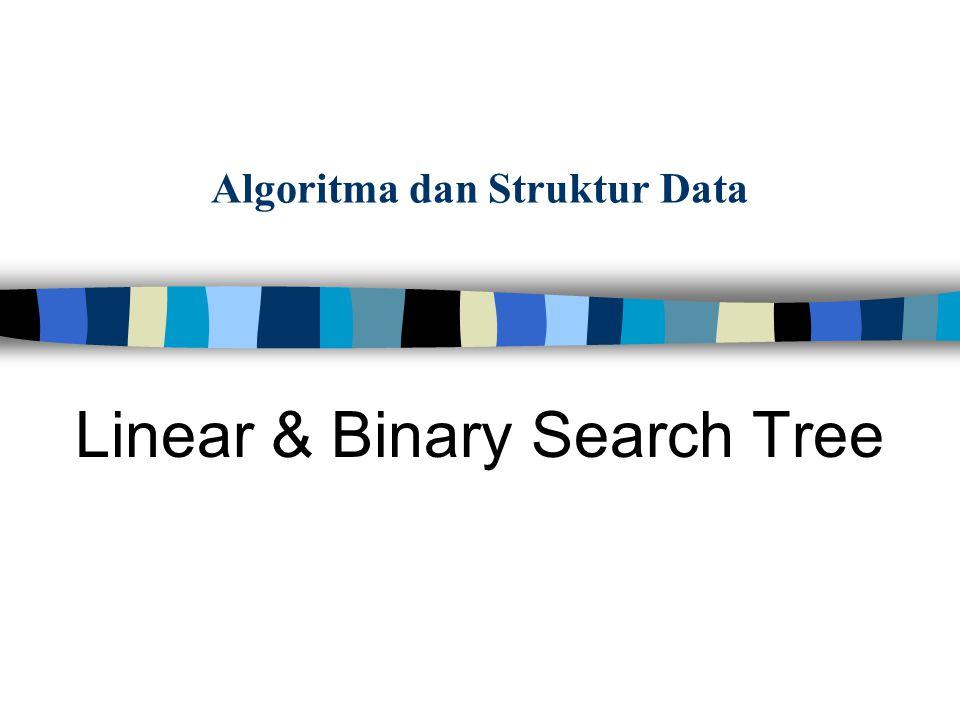 Pemakaian tree structure dalam proses pencarian (search) Sifat Binary Tree: Pada sebuah node x, –elemen yang berada di LEFT sub-tree selalu lebih KECIL daripada x –elemen yang berada di RIGHT sub-tree selalu lebih BESAR Atau SAMA DENGAN daripada x Binary Search Tree:proses pencarian (SEARCHING) berbasis binary tree Apakah Binary Search Tree itu ?