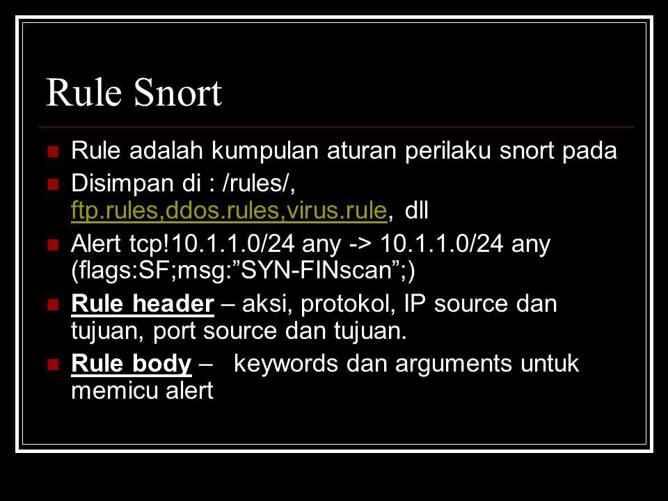 Rule Snort Rule adalah kumpulan aturan perilaku snort pada Disimpan di : /rules/, ftp.rules,ddos.rules,virus.rule, dll ftp.rules,ddos.rules,virus.rule