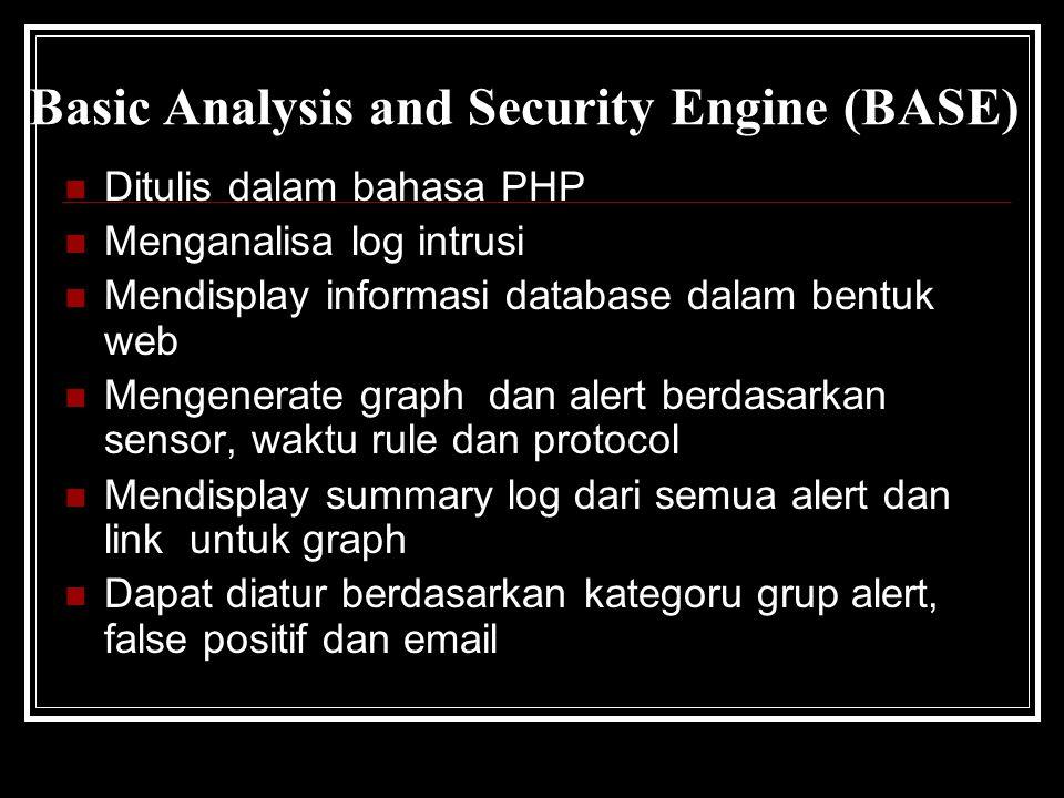 Basic Analysis and Security Engine (BASE) Ditulis dalam bahasa PHP Menganalisa log intrusi Mendisplay informasi database dalam bentuk web Mengenerate