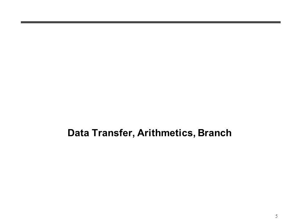 5 Data Transfer, Arithmetics, Branch
