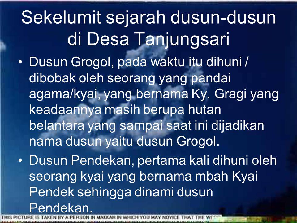Awal Desa Tanjungsari hanya terdiri 4 dusun yaitu : Dusun Grogol, Pendekan, Ngabean dan Sudimoro, dengan berkembangnya penduduk maka dusun Sudimoro dipecah menjadi 3 yaitu Sudimoro, Dukung dan Jurang dan sampai sekarang, Desa Tanjungsari terdiri dari 6 Dusun yang mempunyai sejarah tersendiri.