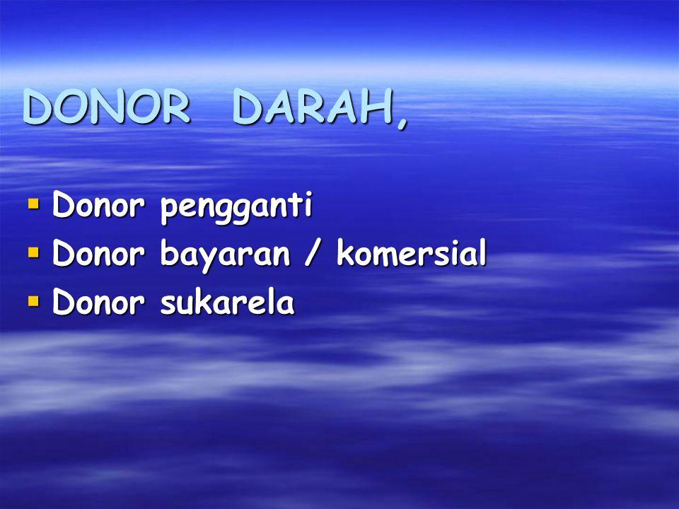 DONOR DARAH,  Donor pengganti  Donor bayaran / komersial  Donor sukarela