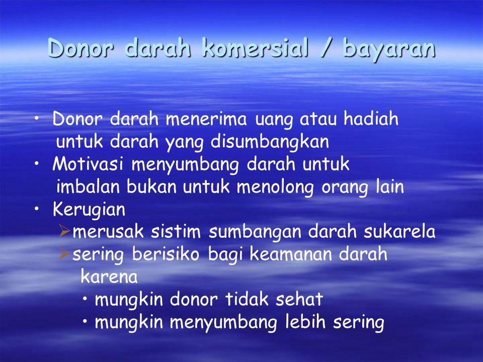Donor darah komersial / bayaran Donor darah menerima uang atau hadiah untuk darah yang disumbangkan Motivasi menyumbang darah untuk imbalan bukan untu