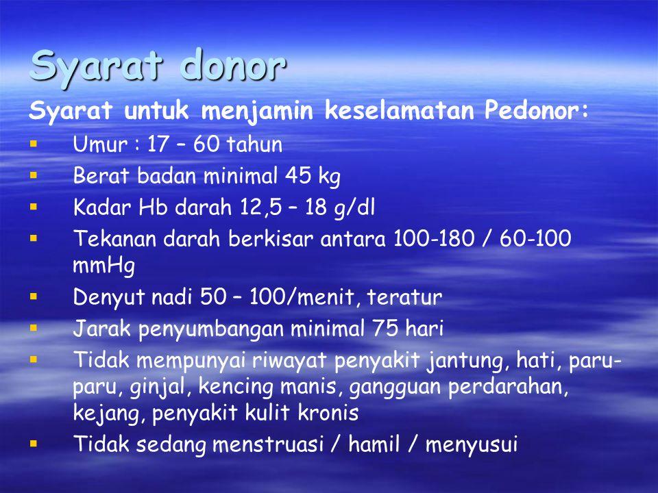 Syarat donor Syarat untuk menjamin keselamatan Pedonor:  Umur : 17 – 60 tahun  Berat badan minimal 45 kg  Kadar Hb darah 12,5 – 18 g/dl  Tekanan darah berkisar antara 100-180 / 60-100 mmHg  Denyut nadi 50 – 100/menit, teratur  Jarak penyumbangan minimal 75 hari  Tidak mempunyai riwayat penyakit jantung, hati, paru- paru, ginjal, kencing manis, gangguan perdarahan, kejang, penyakit kulit kronis  Tidak sedang menstruasi / hamil / menyusui