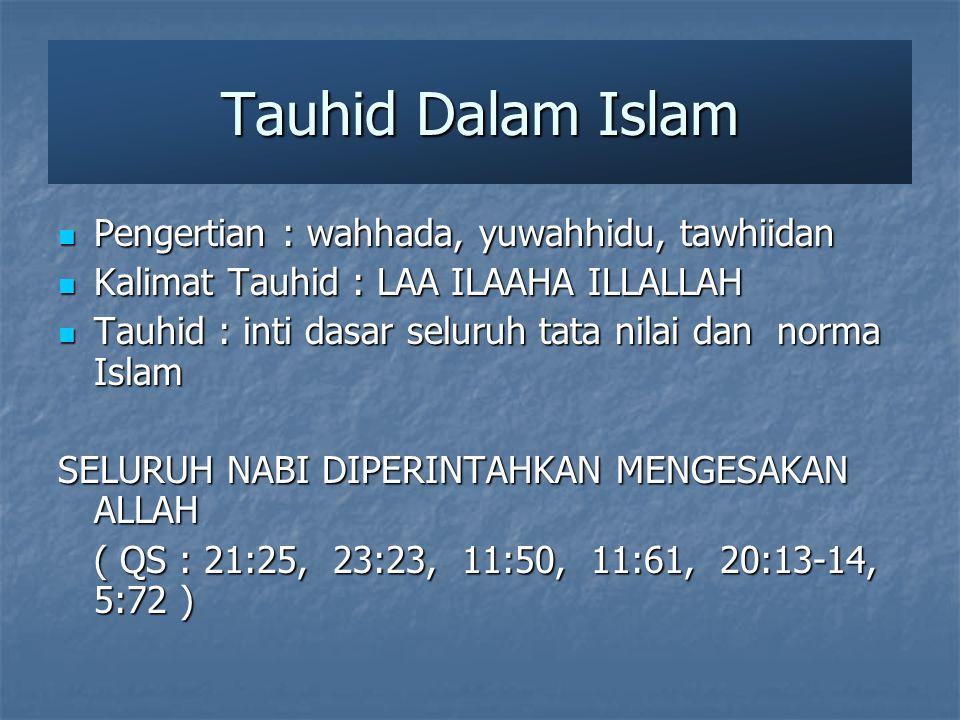 Tauhid Dalam Islam Pengertian : wahhada, yuwahhidu, tawhiidan Pengertian : wahhada, yuwahhidu, tawhiidan Kalimat Tauhid : LAA ILAAHA ILLALLAH Kalimat Tauhid : LAA ILAAHA ILLALLAH Tauhid : inti dasar seluruh tata nilai dan norma Islam Tauhid : inti dasar seluruh tata nilai dan norma Islam SELURUH NABI DIPERINTAHKAN MENGESAKAN ALLAH ( QS : 21:25, 23:23, 11:50, 11:61, 20:13-14, 5:72 )