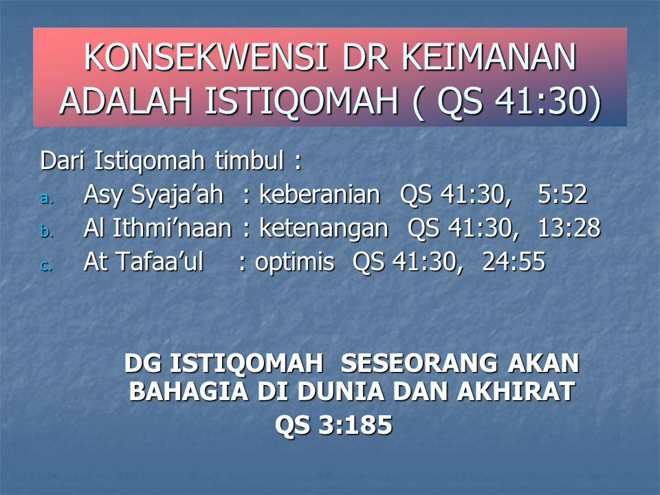 KONSEKWENSI DR KEIMANAN ADALAH ISTIQOMAH ( QS 41:30) Dari Istiqomah timbul : a. Asy Syaja'ah : keberanian QS 41:30, 5:52 b. Al Ithmi'naan : ketenangan