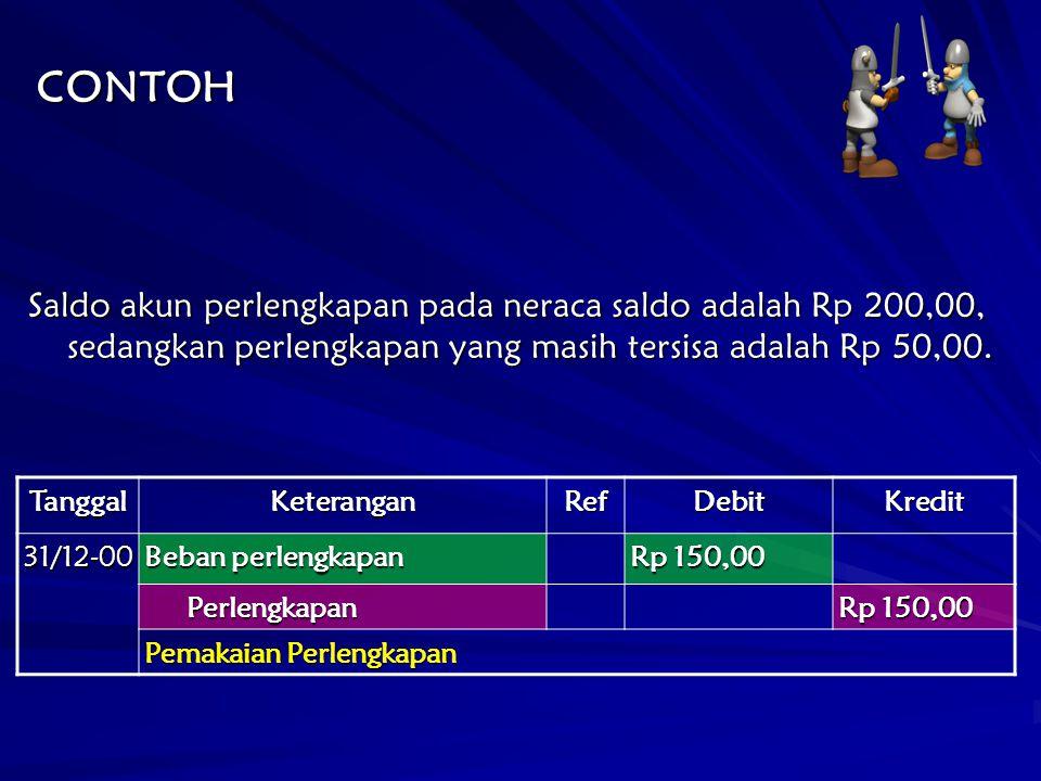 CONTOH Saldo akun perlengkapan pada neraca saldo adalah Rp 200,00, sedangkan perlengkapan yang masih tersisa adalah Rp 50,00. TanggalKeteranganRefDebi