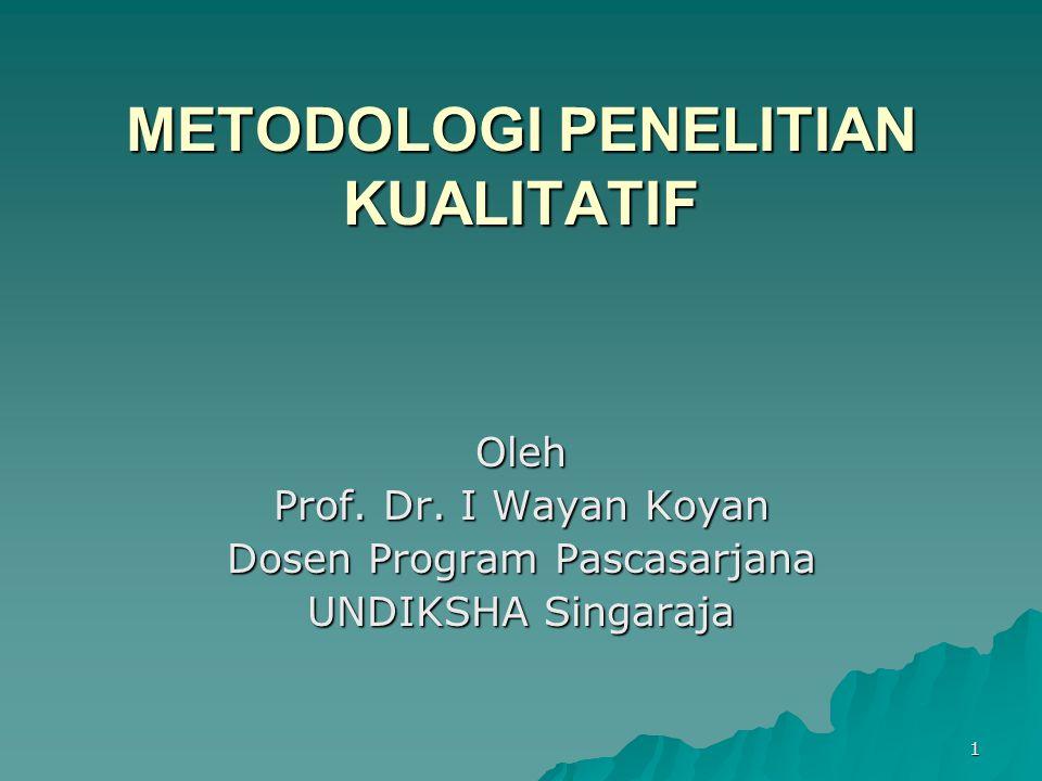 1 METODOLOGI PENELITIAN KUALITATIF Oleh Prof. Dr. I Wayan Koyan Dosen Program Pascasarjana UNDIKSHA Singaraja