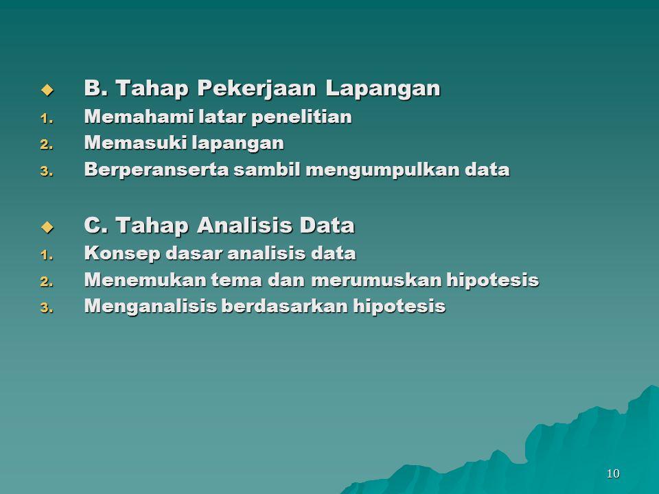 10  B. Tahap Pekerjaan Lapangan 1. Memahami latar penelitian 2. Memasuki lapangan 3. Berperanserta sambil mengumpulkan data  C. Tahap Analisis Data