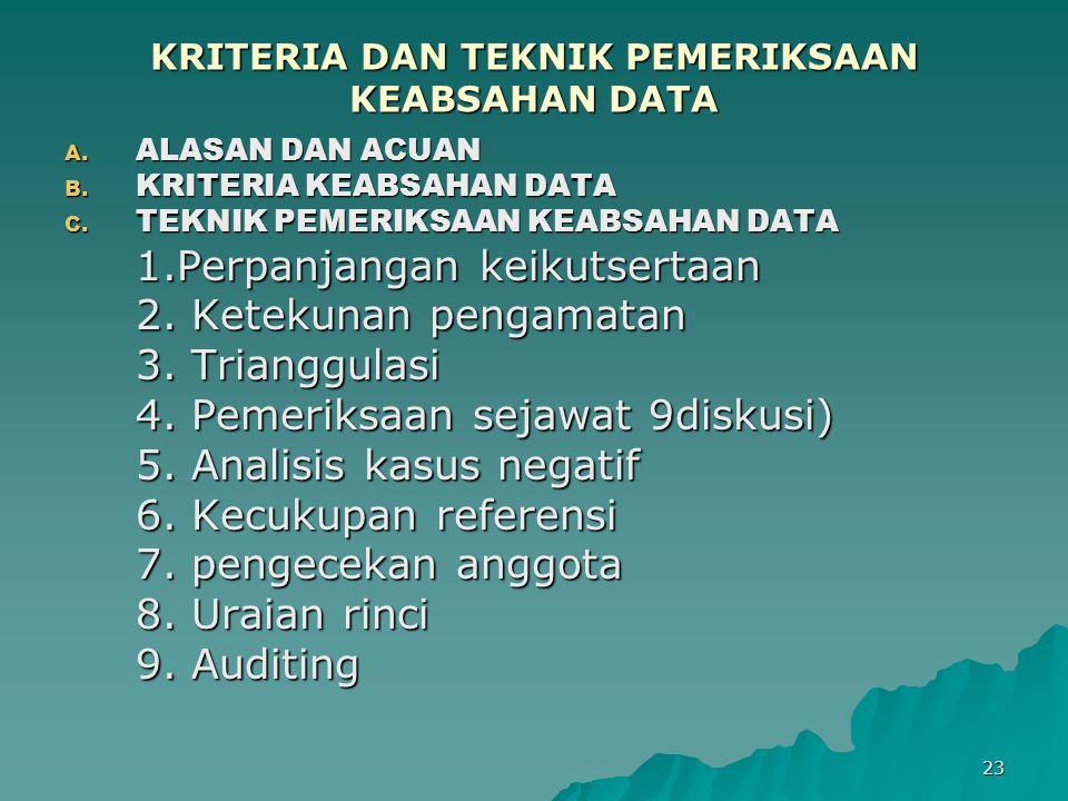 23 KRITERIA DAN TEKNIK PEMERIKSAAN KEABSAHAN DATA A. ALASAN DAN ACUAN B. KRITERIA KEABSAHAN DATA C. TEKNIK PEMERIKSAAN KEABSAHAN DATA 1.Perpanjangan k