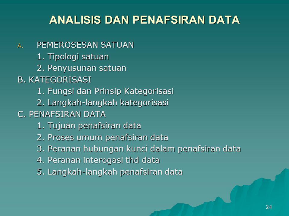 24 ANALISIS DAN PENAFSIRAN DATA A. PEMEROSESAN SATUAN 1. Tipologi satuan 2. Penyusunan satuan B. KATEGORISASI 1. Fungsi dan Prinsip Kategorisasi 2. La