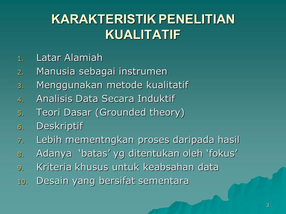 3 KARAKTERISTIK PENELITIAN KUALITATIF 1. Latar Alamiah 2. Manusia sebagai instrumen 3. Menggunakan metode kualitatif 4. Analisis Data Secara Induktif