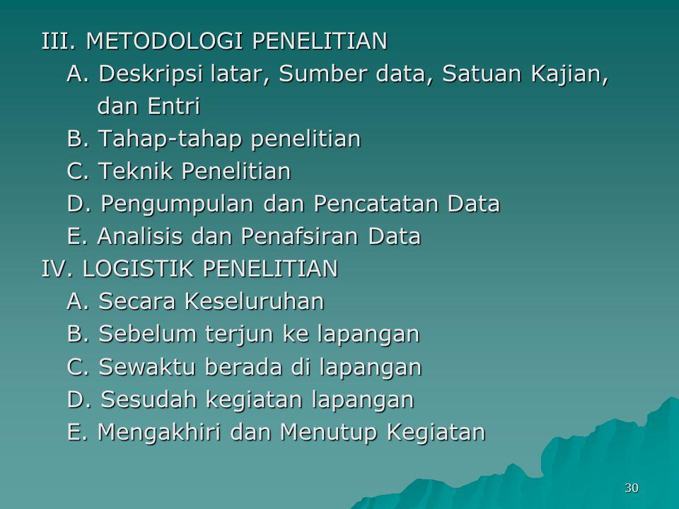 30 III. METODOLOGI PENELITIAN A. Deskripsi latar, Sumber data, Satuan Kajian, dan Entri dan Entri B. Tahap-tahap penelitian C. Teknik Penelitian D. Pe