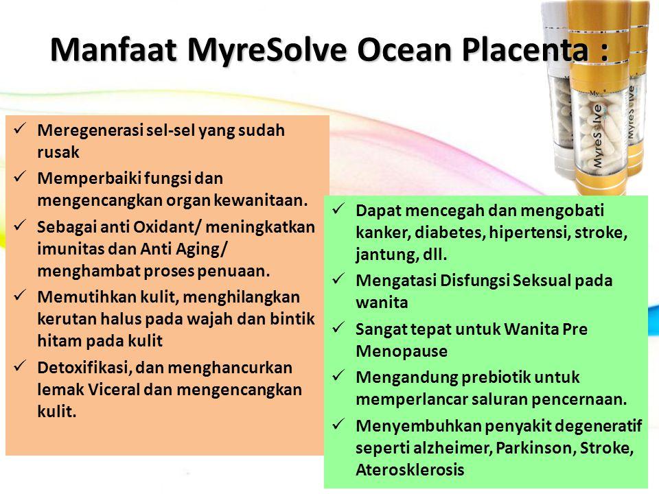 Manfaat MyreSolve Ocean Placenta : Meregenerasi sel-sel yang sudah rusak Memperbaiki fungsi dan mengencangkan organ kewanitaan. Sebagai anti Oxidant/