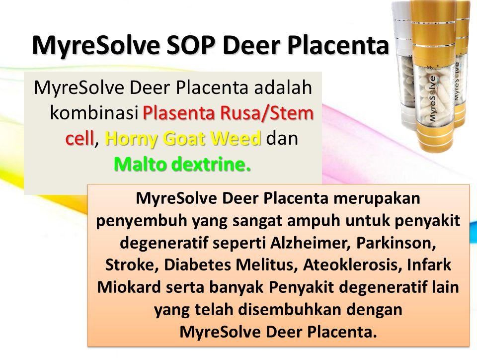 MyreSolve SOP Deer Placenta Plasenta Rusa/Stem cellHorny Goat Weed Malto dextrine. MyreSolve Deer Placenta adalah kombinasi Plasenta Rusa/Stem cell, H