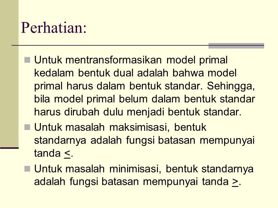 Perhatian: Untuk mentransformasikan model primal kedalam bentuk dual adalah bahwa model primal harus dalam bentuk standar. Sehingga, bila model primal