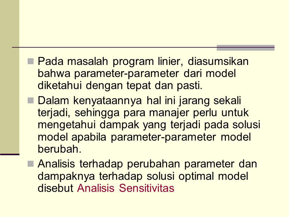 Pada masalah program linier, diasumsikan bahwa parameter-parameter dari model diketahui dengan tepat dan pasti. Dalam kenyataannya hal ini jarang seka