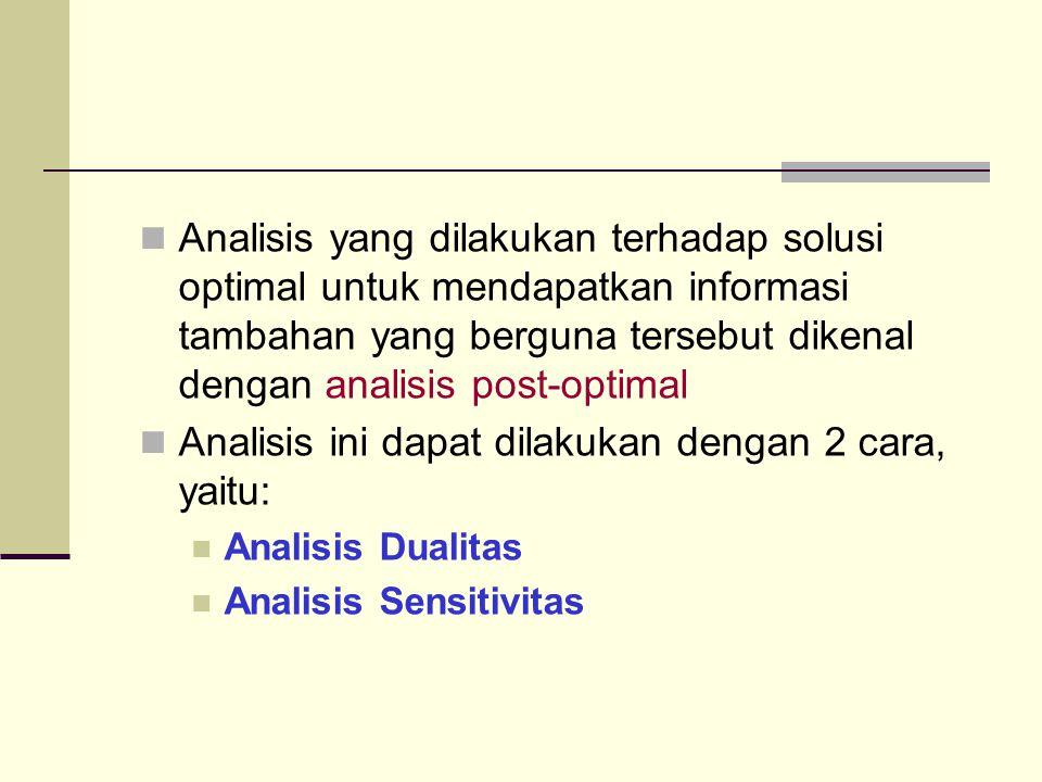 Analisis yang dilakukan terhadap solusi optimal untuk mendapatkan informasi tambahan yang berguna tersebut dikenal dengan analisis post-optimal Analisis ini dapat dilakukan dengan 2 cara, yaitu: Analisis Dualitas Analisis Sensitivitas
