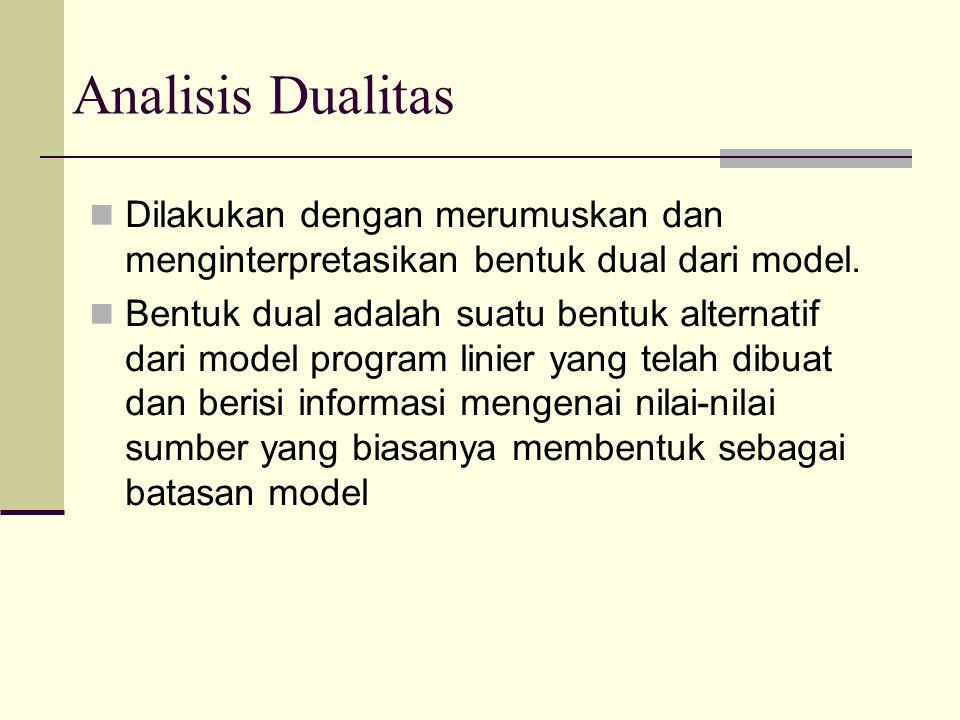 Analisis Dualitas Dilakukan dengan merumuskan dan menginterpretasikan bentuk dual dari model. Bentuk dual adalah suatu bentuk alternatif dari model pr