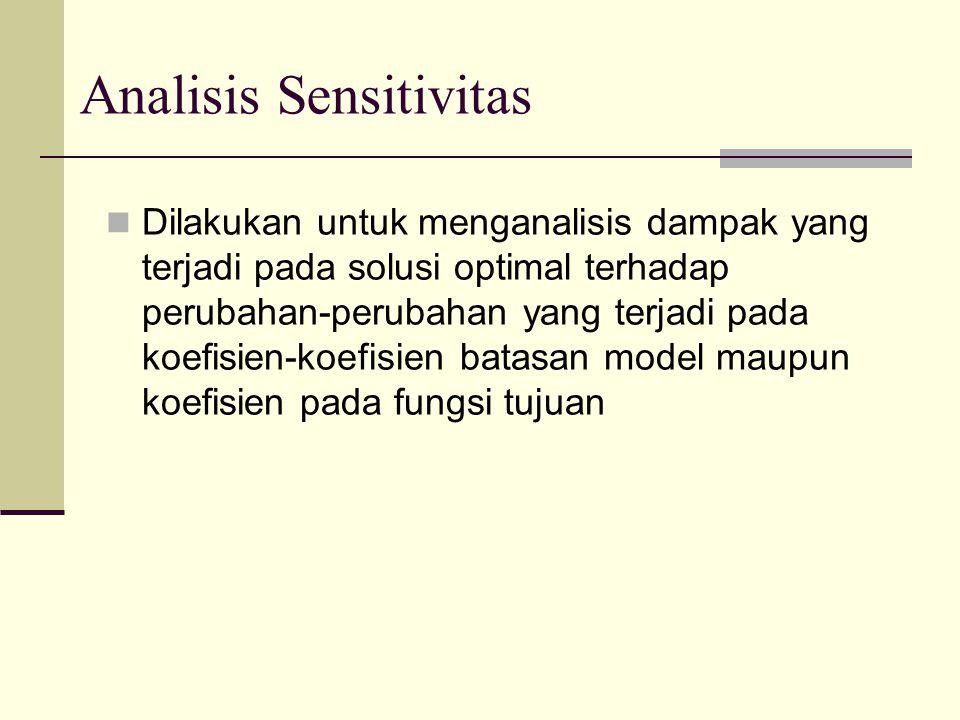 Analisis Sensitivitas Dilakukan untuk menganalisis dampak yang terjadi pada solusi optimal terhadap perubahan-perubahan yang terjadi pada koefisien-koefisien batasan model maupun koefisien pada fungsi tujuan