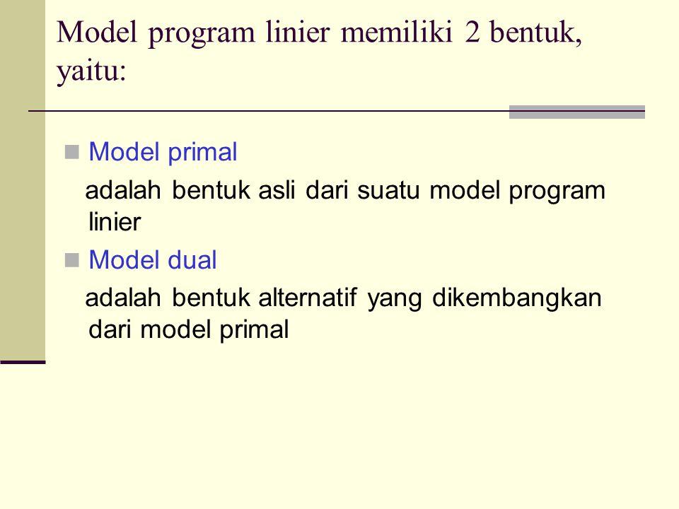 Model program linier memiliki 2 bentuk, yaitu: Model primal adalah bentuk asli dari suatu model program linier Model dual adalah bentuk alternatif yang dikembangkan dari model primal