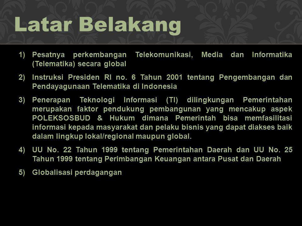 1)Pesatnya perkembangan Telekomunikasi, Media dan Informatika (Telematika) secara global 2)Instruksi Presiden RI no. 6 Tahun 2001 tentang Pengembangan