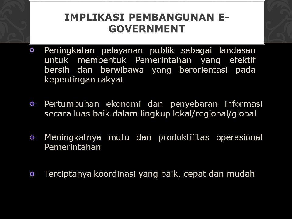 IMPLIKASI PEMBANGUNAN E- GOVERNMENT Peningkatan pelayanan publik sebagai landasan untuk membentuk Pemerintahan yang efektif bersih dan berwibawa yang
